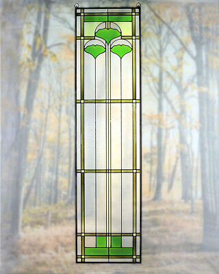 """Arts and Crafts Ginkgo Stained Glass Panel 35.5"""" x 9"""" - Hand Crafted in the USA"""