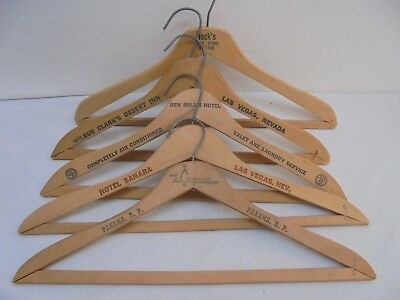 Lot of 5 Vintage Antique Wood Advertising Cleaners & Clothing Hangers Hotel