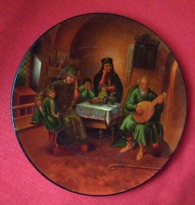 Antique Russian Vyshnyakov Imperial Papier Mache Lacquer Card Letter Tray Plate