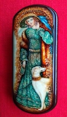 Russian Fedoskino Papie Mache Jewellery Lacquer Trinket Box Girl Hat With Dog