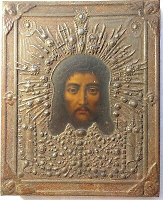 RUSSIAN ORTHODOX ICON JESUS CHRIST WITH OKLAD CHRISTIANITY RELIGIOUS early 20th