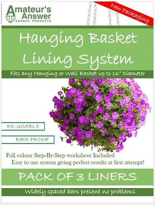 """Hanging Basket Liners (3 Pack) - Best Liner - Easy to use - Up to 16"""" Diameter"""