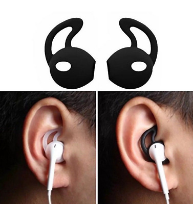 2 Pairs Black Gel Silicone Earpods  Cover Ear hook for iPhone Apple Earphone