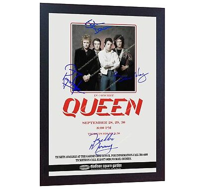 QUEEN Freddie Mercury Poster Medison Square Garden signed autograph print FRAMED