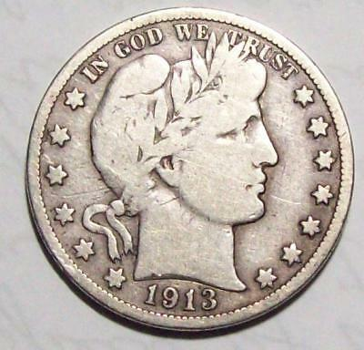 1913-P BARBER HALF DOLLAR Better Date Sharp Vg++  #20B83