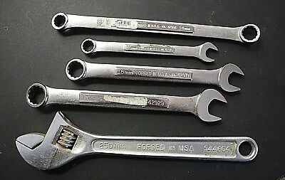 """5 Genuine Craftsman Wrenches 10"""" Adjustable, 17, 15, 14, 11 Combos  Msrp $64.40"""