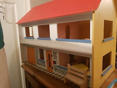 Wooden Dolls House With BigJigs Furniture