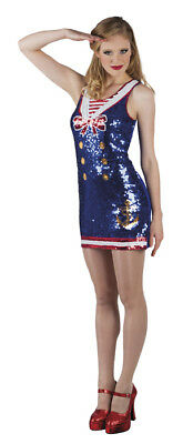 Adults Sequin Dress Costume/Fancy Dress Outfit Size M 10-12 Sailor / Cheerleader