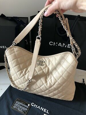5017eeec202 Chanel 100% Genuine Quilted Caviar Leather French Riviera Hobo Shoulder Bag