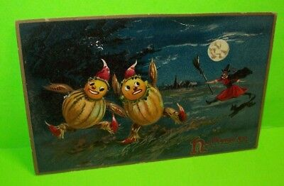 Tucks Original Halloween Series 150 Embossed Witch MOON Cat Goblins Post Card #3