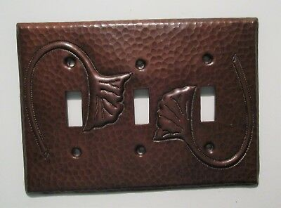Hammered Copper Switch Plate Cover Ginkgo Triple Toggle Arts & Crafts Mission