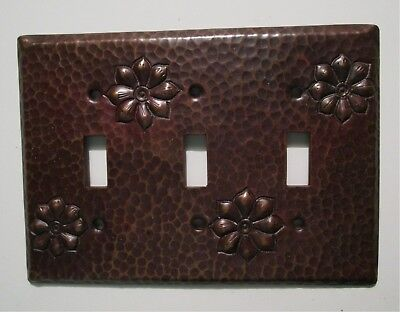 Hammered Copper Switch Plate Cover Flower Triple Toggle Arts & Crafts Mission