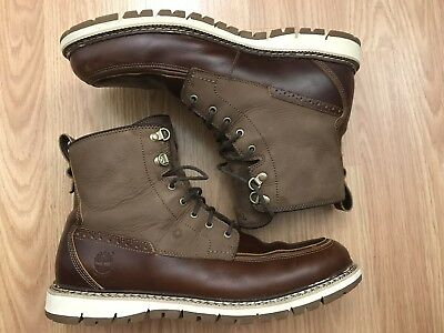TIMBERLAND MEN'S BRITTON Hill Moc Toe Boots Size 11 Brown Waterproof Shoes A1253