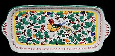 "Sberna Deruta Italy Handcrafted Pottery ~ Antipasto Serving Tray 10¾"" x 5⅛"""