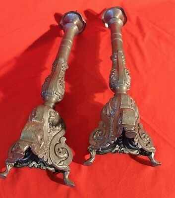 Tall pair antique French baroque candlesticks lamp candelabra pewter 1800 rococo