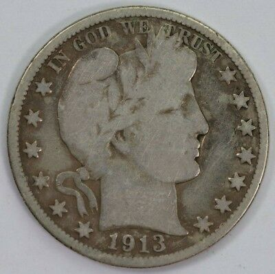 1913-P Silver 50C Barber Half Dollar Raw Better Date Mint Mark US Coin