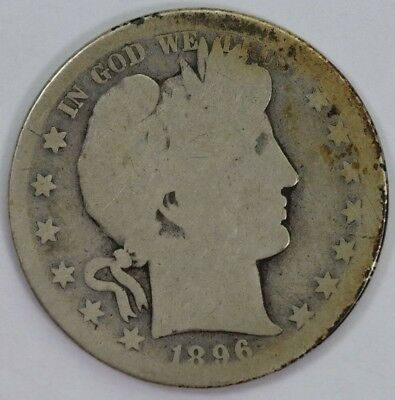 1896-S Silver 50C Barber Half Dollar Raw Better Date Mint Mark 90% US Coin