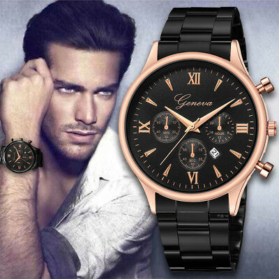 Hot Men's Date Luxury Watch Fashion Stainless Steel Watch Quartz Analog Watch