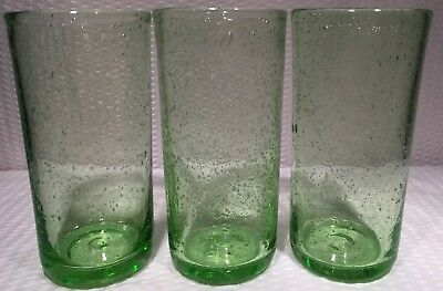 "(3) ~6""Mexican Hand Blown Art Glass Neon Lime Green air bubbles Tumbler Glasses"
