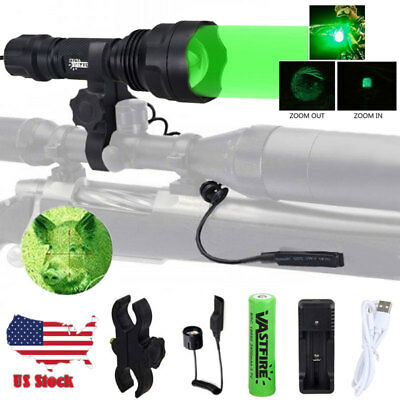 Zoom Green/Red LED Coyote Varmint Hog Hunting Light Beam Flashligh Scope Mount