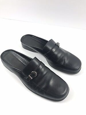 5c0663bb3c4 BASS Women s Famous Black Leather Slip On Loafers Mules Horse Bit Shoes 9.5  M