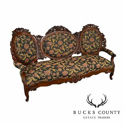 Rococo Revival Fine Carved Rosewood Sofa