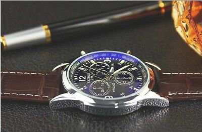 2018 Hot Luxury Fashion Faux Leather Mens Blue Ray Glass Quartz Analog Watches