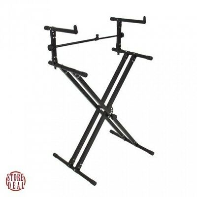 Keyboard Stand Piano Black Adjustable Dual Electronic Lightweight Portable New