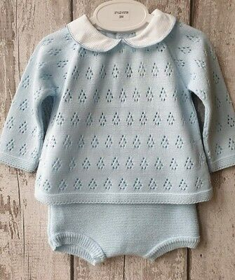 Spanish Style Baby Boy Blue Knitted Jumper and Jam Pants Set / Outfit