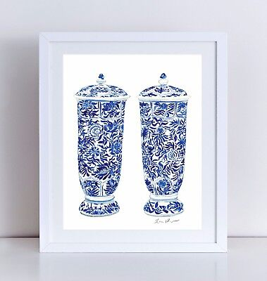 5c1d5d71e24 Blue and White China Ginger Jars Unframed Art Print Chinoiserie Canvas or  Paper