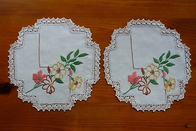 Vintage Hand Embroidered Doilies Flowers  8 Sided Ecru Cotton 23cmx23cm Set 2