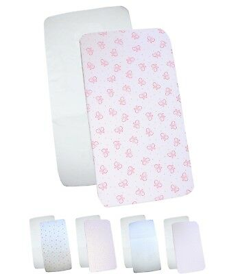 "BabyPrem 33 x 17"" Pack of 2 Fitted Cradle Sheets Girls Baby Bedding 84 x 43cm"