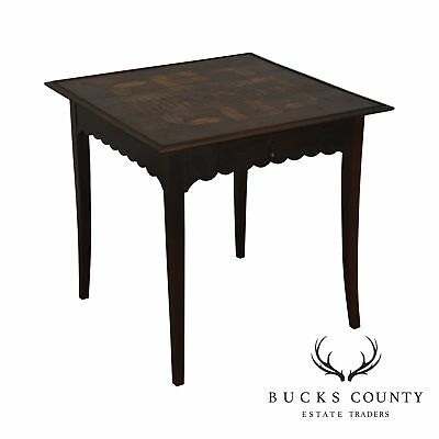 French Country Antique 19th Century Inlaid One Drawer Work Table