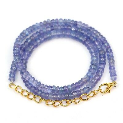 98.80 Crt 1Strand Natural Tanzanite Gemstone Beads Necklace 4.5mm To 5.5MM 18in