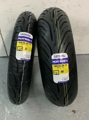 1 x 120/70 ZR17 (58W) & 1 x 180/55 ZR17 (73W) Michelin Pilot Road 4 - TWO TYRES