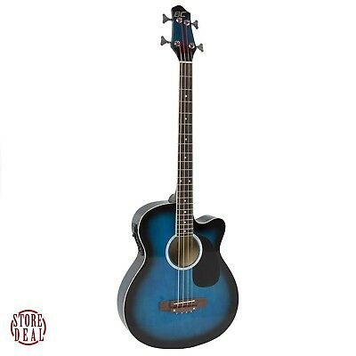 Acoustic Bass Guitar Blue Electric Equalizer Adjustable Truss Rod Beginners New