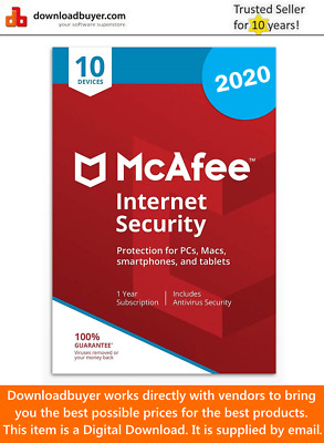McAfee Internet Security Anti Virus Software 2019 10 Users/PC NEW 1 Year Licence