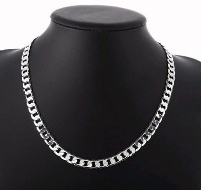 """New Men Women Sterling Silver Chain Necklace 925 Solid Curb Chain 6mm 20"""" Gift"""