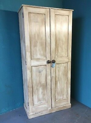 Original Tall Pine Cupboard For Linen Or  School Cupboard Fitted Shelves