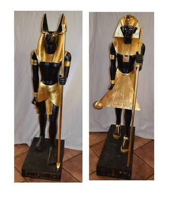 "49"" Egyptian Statues Anubis & King Tut Figures Large Heavy Home Decor Large"