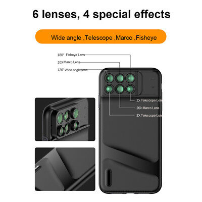 Camera Lens Fisheye Wide-angle Telephoto Macro Cover 6 in 1 For iPhone XS Max
