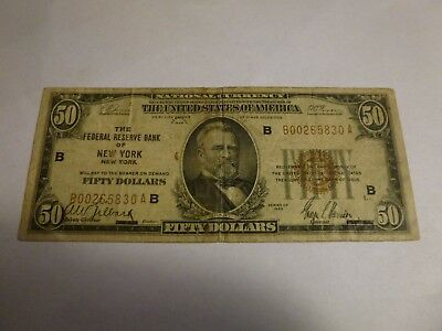 1929 $50 Federal Reserve Bank Note New York, New York