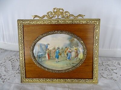 Antique French Fine Miniature Painting Gilt Bronze & Wood Frame 19th - Louis XVI