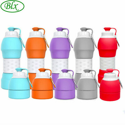 580ml Collapsible Silicone Water Bottle Sports Canteen for Hiking Travelling