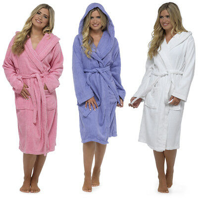 Luxury 100/% Cotton Towelling Bath Robe Dressing Gown Lilac White Pink 8-20 UK
