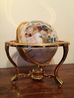 Semi Precious Gem Stone Globe on gold stand with compass