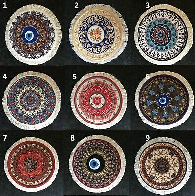 Round Persian mini rug woven rug mouse pad carpet tassel mat UK SELLER