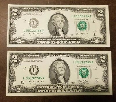 2013 A 2 Consecutive Numbered $2 two dollar bills Crisp Uncirculated Notes
