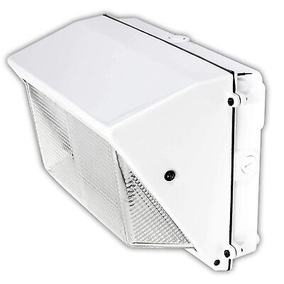 LED White Wall-Pack Glass Lens- 40W 5000K Commercial Outdoor Light Fixture