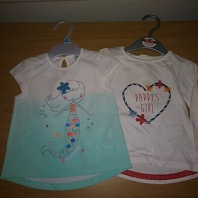 Baby Girls tops 2 Pack 6-9  months brand new free POSTAGE .